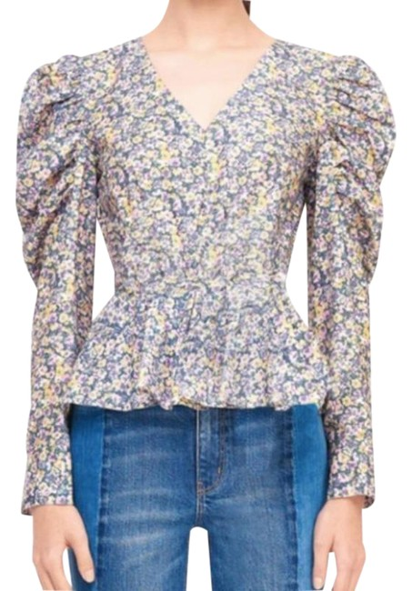 Item - Lavender & Yellow Pansies V-neck Puff Sleeve Blouse Size 4 (S)