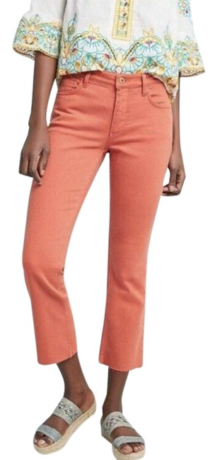 Item - Pilcro and The Letterpress Orange Coated Anthropologie High Rise Bootcut Crop Capri/Cropped Jeans Size 25 (2, XS)