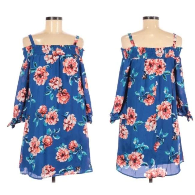 Item - Blue Multi Floral Mini Silihouette Short Casual Dress Size 16 (XL, Plus 0x)