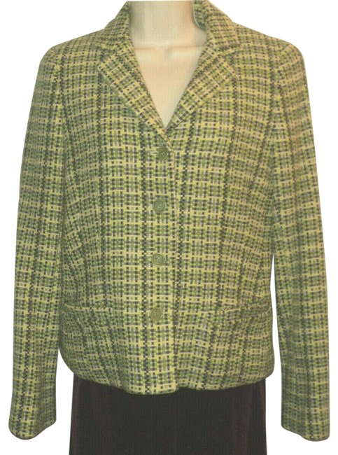 Item - Shades Of Green Woven In Lined Front Buttoned Made In Usa Blazer Size 10 (M)