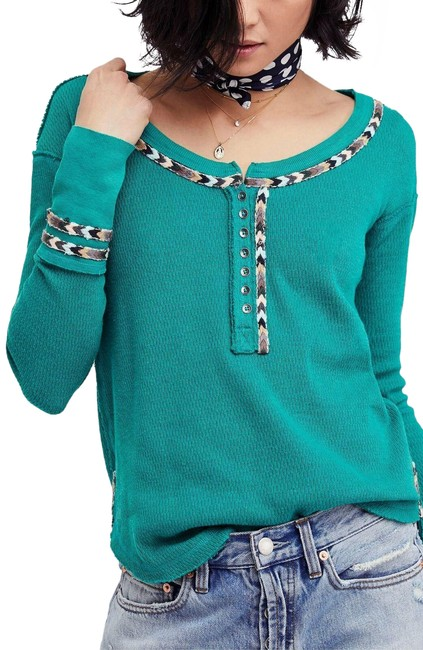 Free People Green Rainbow Thermal Blouse Size 4 (S) Free People Green Rainbow Thermal Blouse Size 4 (S) Image 1