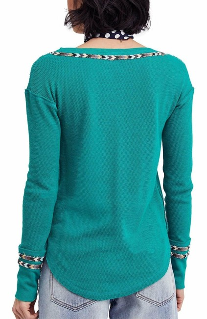 Free People Green Rainbow Thermal Blouse Size 4 (S) Free People Green Rainbow Thermal Blouse Size 4 (S) Image 3