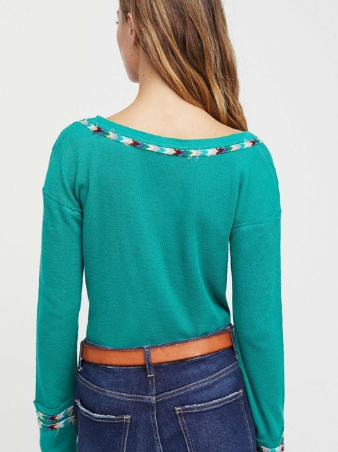 Free People Green Rainbow Thermal Blouse Size 4 (S) Free People Green Rainbow Thermal Blouse Size 4 (S) Image 6