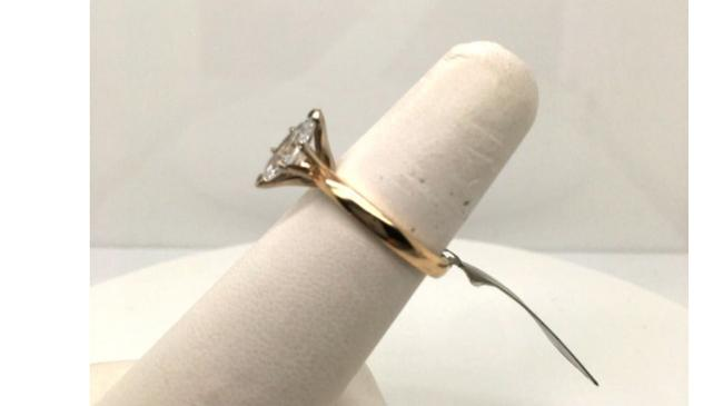 Vintage Gold Natural Diamond Solitaire 14k Yellow Marquise Cut Engagement Ring Vintage Gold Natural Diamond Solitaire 14k Yellow Marquise Cut Engagement Ring Image 3
