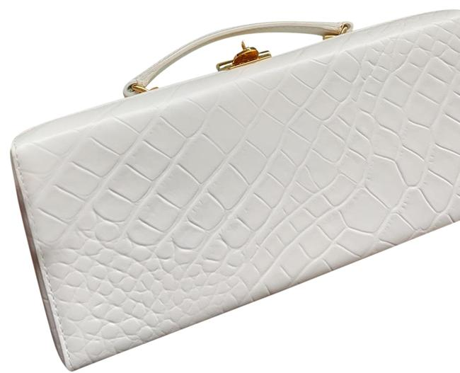 Item - Box Grace Lungo White Embossed Alligator Leather Cross Body Bag
