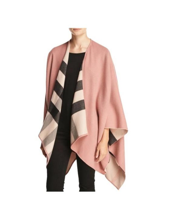 Item - Ash Rose Pink New Merino Wool Charlotte Reversible Solid To Check Wrap Poncho/Cape Size OS (one size)