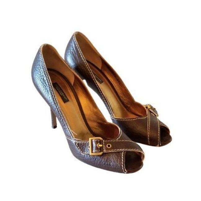 Item - Brown Pebble Leather Open Toe D&g Buckle Heels Pumps Size EU 39.5 (Approx. US 9.5) Regular (M, B)