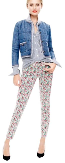 Item - Green Red Medium Wash Floral Liberty Toothpick Ankle Skinny Jeans Size 30 (6, M)