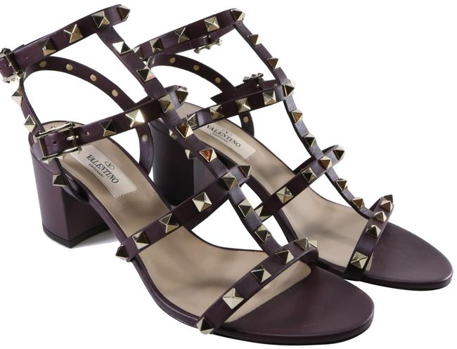 Item - Purple Cage Gold Rockstud Strappy 60mm Rubin Eggplant Heels D324 Sandals Size EU 38 (Approx. US 8) Regular (M, B)