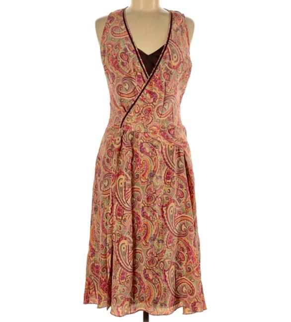 Item - Red Yellow Orange Silk Paisley Print Faux Wrap Mid-length Short Casual Dress Size 8 (M)