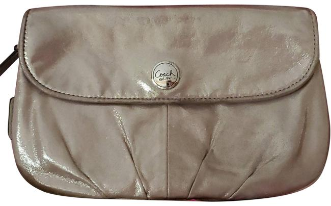 Item - Pleated Champagne Shimmer Wristlet Pink Leather Clutch