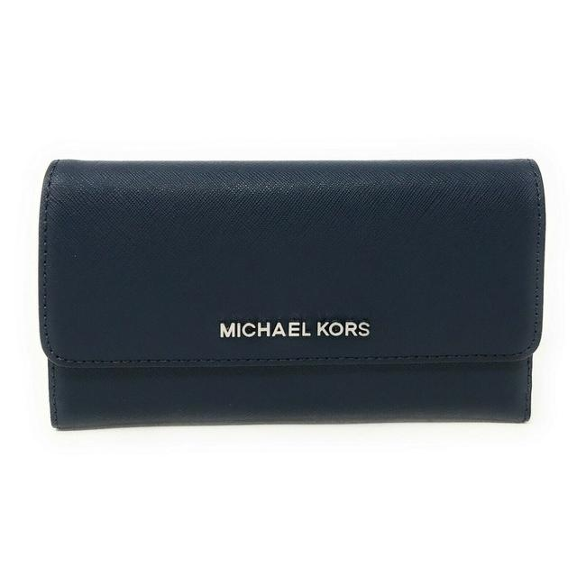 Item - Women's Jet Set Travel Large Trifold Leather/Pvc Wallet Navy/Silver Tone Leather Clutch