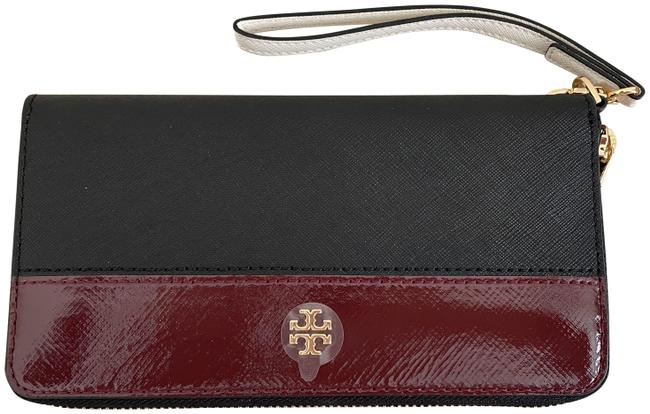 Item - Black/ Imperial Garnet Emerson Mixed-materials Wristlet Zip Continental Wallet