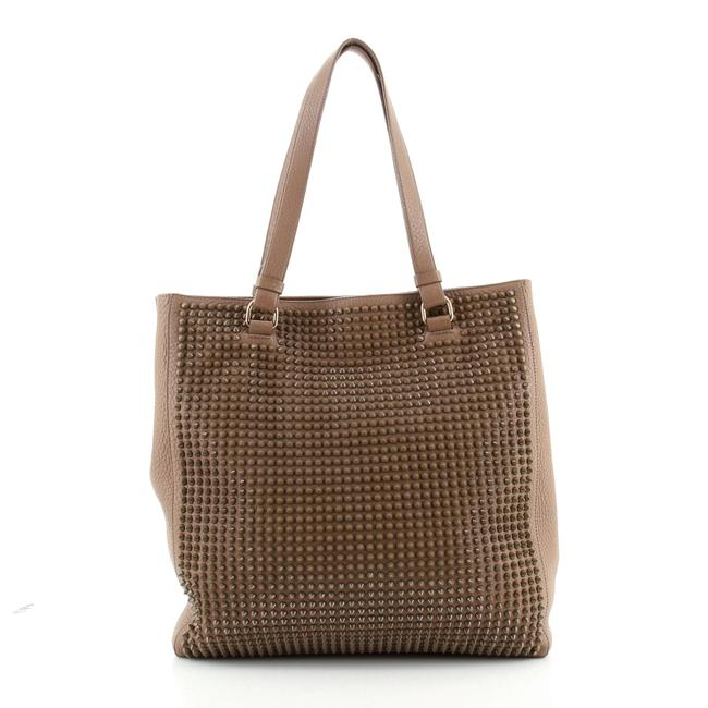 Item - Open Spiked Medium Brown Leather Tote