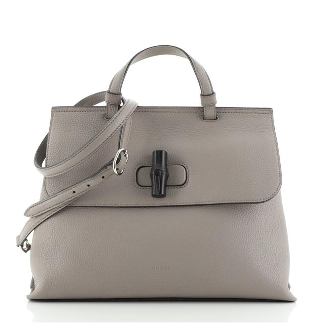 Item - Bamboo Daily Top Handle Bag Medium Gray Leather Satchel
