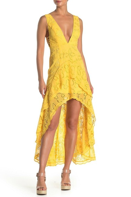 Item - Yellow Catalina High-low Lace Maxi Long Night Out Dress Size 12 (L)
