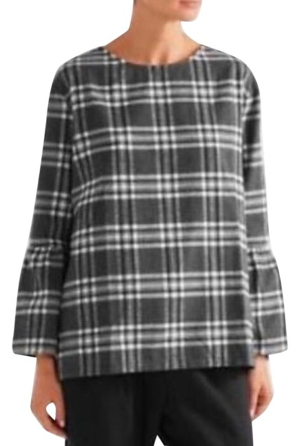 Item - Gray & White The Madeline Plaid Maternity Top Size 6 (S)
