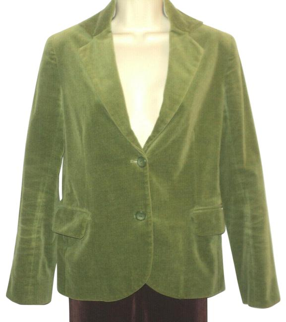 Item - Green Cotton Velvet Front Buttoned Lined Notched Collar Blazer Size 10 (M)