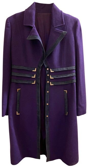 Item - Purple Wool with Suede Trim Coat Size 8 (M)
