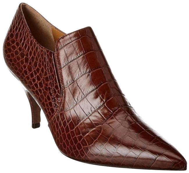 Item - Brown Croc Embossed Georgina Leather Ankle Boots/Booties Size US 9 Regular (M, B)