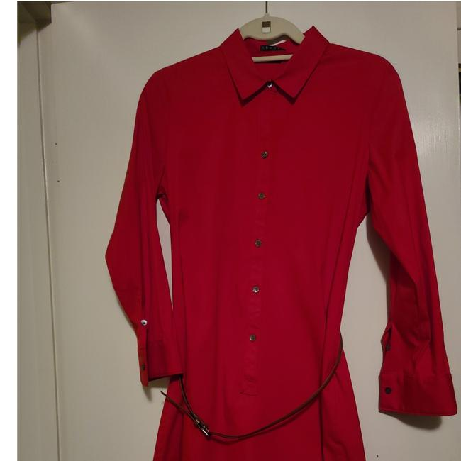 Item - Red Belted Short Work/Office Dress Size 10 (M)