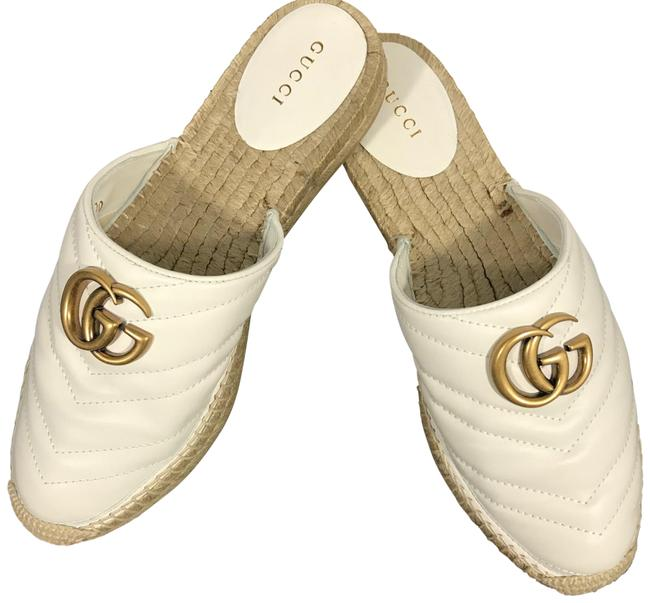 Item - White Leather Espadrille with Double G with Slide Silhouette Sandals Size EU 37.5 (Approx. US 7.5) Regular (M, B)