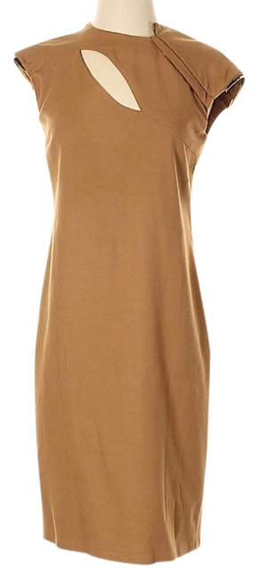 Item - Tan Sheath Gold-tone Accent Sleeve 40/S Short Cocktail Dress Size 4 (S)
