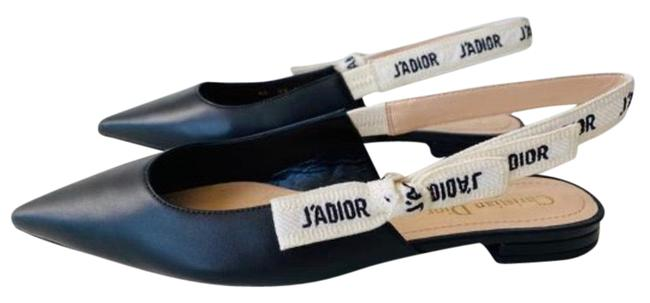Item - Black J'adior Leather & Ribbon Noir Ballerina Slingback Flats Size EU 39 (Approx. US 9) Regular (M, B)