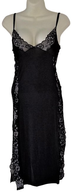 Item - Black Sexy Lingerie Chemise Night Gown with Thong Long Casual Maxi Dress Size OS (one size)