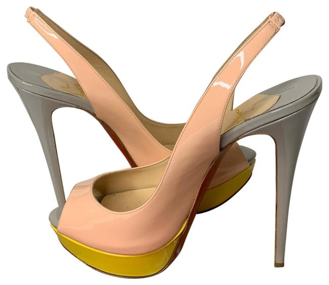 Item - Yellow Pink and Gray Tricolor 150mm Lady Peep Pumps Heels Platforms Size EU 40 (Approx. US 10) Regular (M, B)