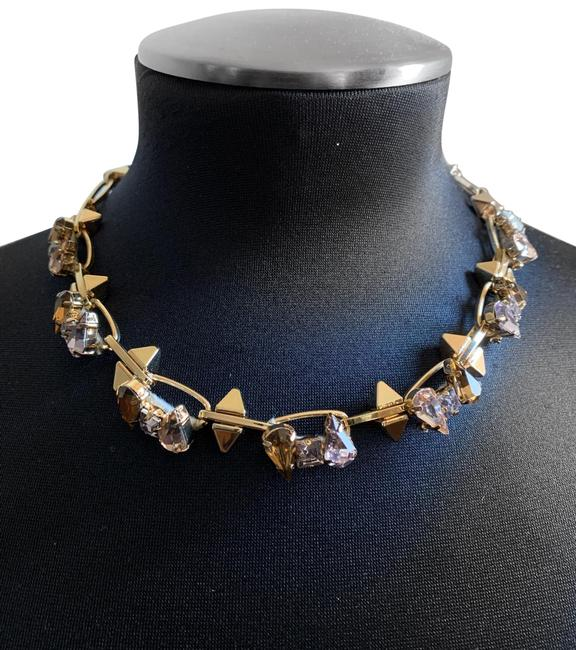 Item - Gold Toned Bcbg Collar Toned Spike Faux Diamond Choker Necklace