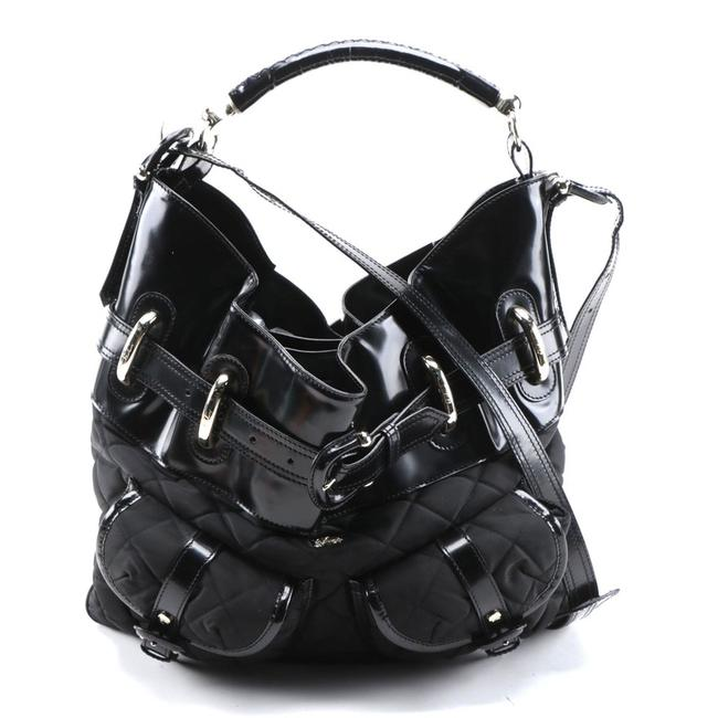 Item - Bromley 2 Way Black with Silver Tone Metal Leather and Nylon Hobo Bag