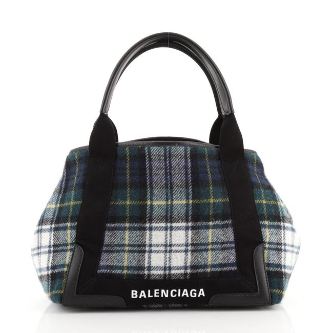 Item - Cabas Navy Small Blue Green Print Wool Tote