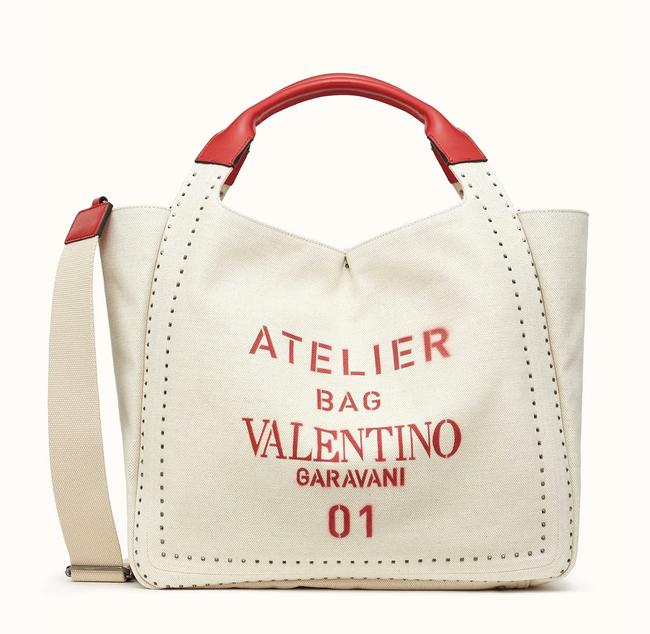 Item - Medium Atelier Edition with Rockstud Metal Stitch White Ivory Canvas Tote