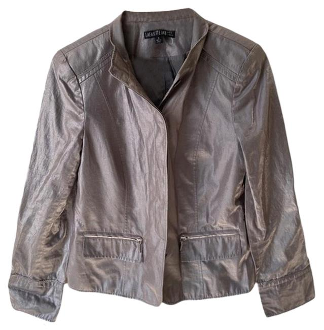 Item - Silver & Gray Metallic Buttoned Jacket Size 6 (S)