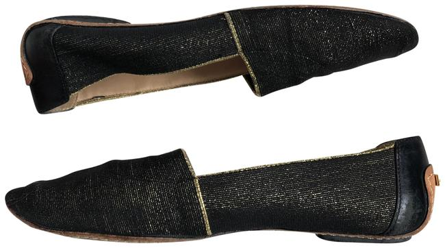 Item - Black and Gold Metallic Elastic Woven Glitter Flats Size US 8 Regular (M, B)