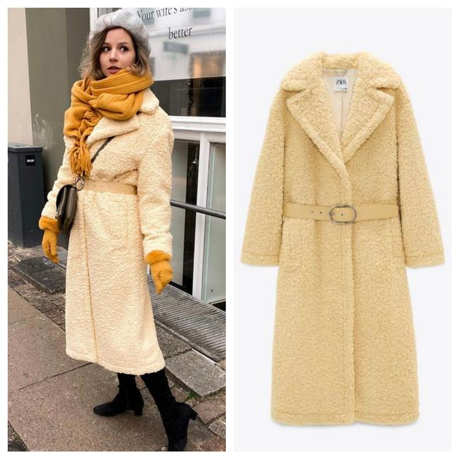 Item - Yellow Limited Edition Belted Fleece Long Coat Size 12 (L)