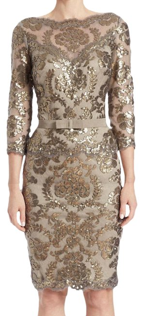 Item - Beige Blush Sand Sequin Lace Knee Length 3/4 Sleeve Cocktail Mid-length Formal Dress Size 6 (S)