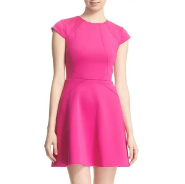 Item - Pink Neoprene Skater Short Cocktail Dress Size 16 (XL, Plus 0x)