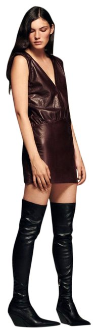 Item - Wine Genuine Leather Short Night Out Dress Size 2 (XS)