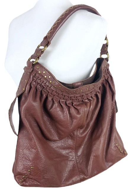 Item - Pleated Studded Brown Leather Hobo Bag