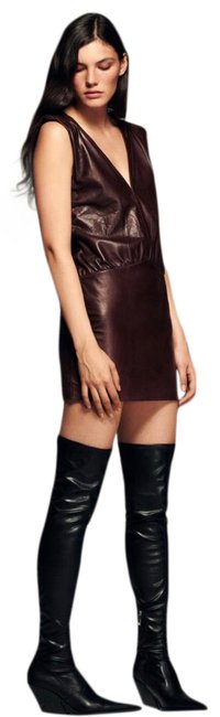 Item - Wine Genuine Leather Short Night Out Dress Size 4 (S)