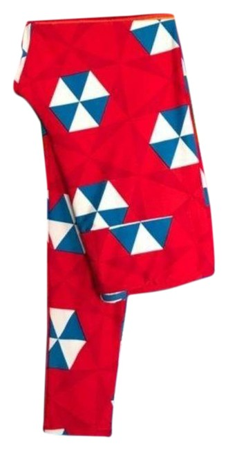Item - Red Blue Pattern Geometric Tall Leggings Size 8 (M, 29, 30)
