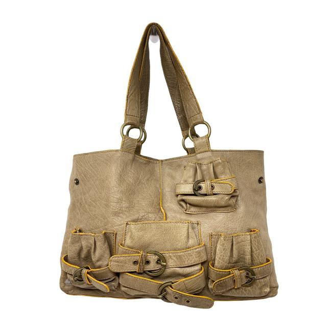 Item - Lucky Penny Buckle Taupe Leather Shoulder Bag