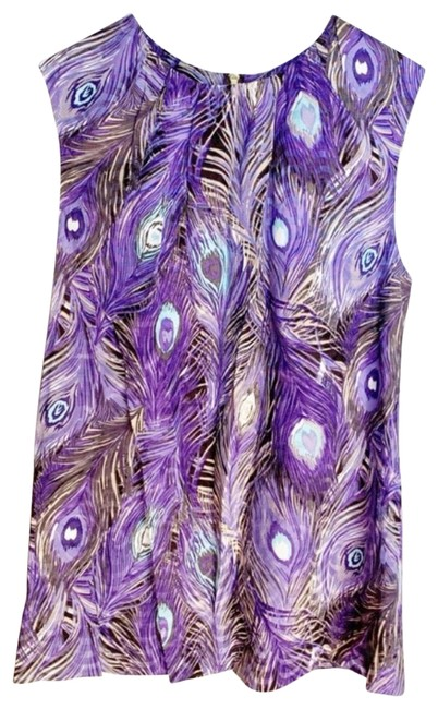Item - Blue Peacock Feather Print Silk Blouse Size 2 (XS)