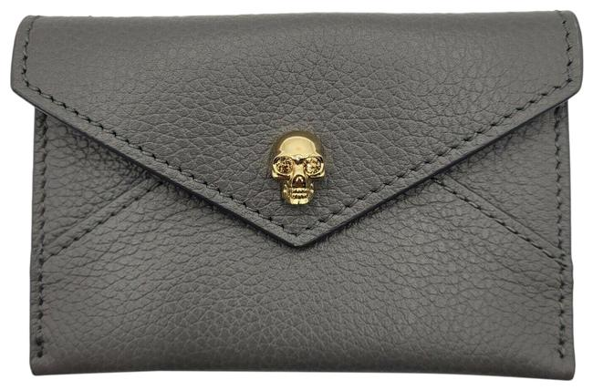 Item - Gray Leather Envelope Card Case with Gold Skull 275334 Wallet