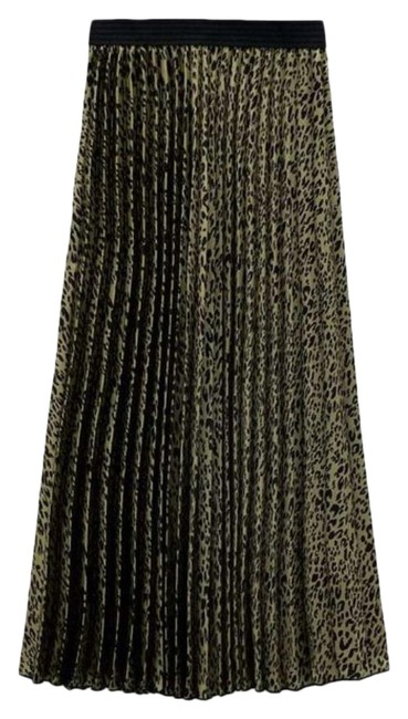 Item - Green Animal Printed Pleated Skirt Size 2 (XS, 26)