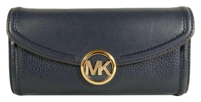 Item - Fulton Women's Mk Signature Continental Flap Wallet Navy Leather/Gold Clutch