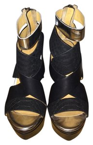 L.A.M.B. L.a.m.b Wedge Black Leather and Silver Wedges