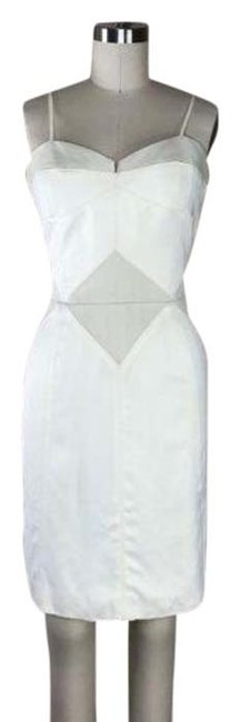 Item - Cream Topstitched Corset Color Blocked Mid-length Cocktail Dress Size 6 (S)